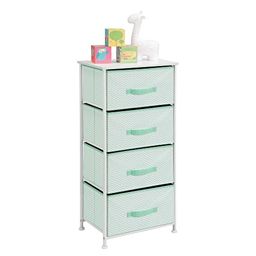 mDesign Vertical Dresser Storage Tower - Sturdy Steel Frame, Wood Top, Easy Pull Fabric Bins - Organizer Unit for Bedroom, Hallway, Entryway, Closets - Chevron Print - 4 Drawers, Mint/White by mDesign