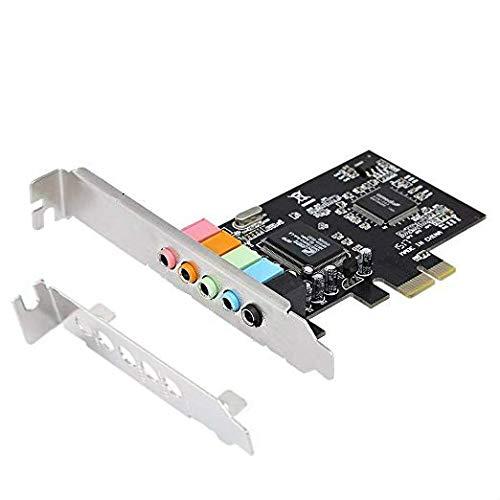 ELENASA PCIe Sound Card, 5.1 Internal Sound Card for PC Windows 10 with Low Profile Bracket, 3D Stereo PCI-e Audio Card, CMI8738 Chip 32/64 Bit Sound Card PCI Express Adapter
