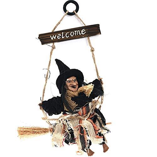 Lzttyee Halloween Decoration Witch Broom Door Hanging Vintage Holiday Season Festive Decor Props for Home School Outdoor (Black) -