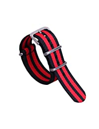 22mm Black/Red Awesome High-level Nylon Perlon NATO style Watch Straps Bands Replacements for Men