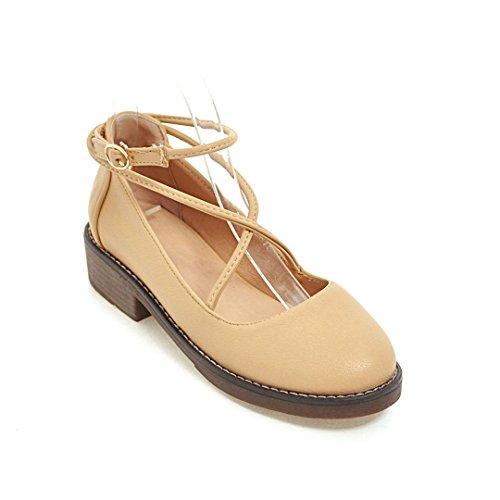 GAOLIM Zapatos De Mujer Están De Vuelta Las Tiras Transversales Video De Cabeza Redonda Delgada Boca Superficial Solo Zapatos Con Estudiantes Mujeres Zapatos Beige