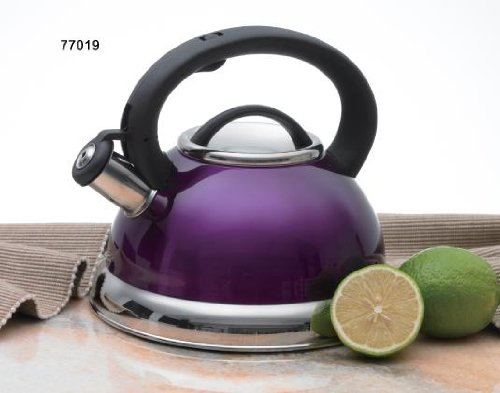 - Creative Home Alexa Stainless Steel Whistling Tea Kettle, Purple, 3.0 Quart