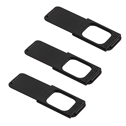 """C-Slide 1.0 Sliding Webcam Cover Family Pack, Black, Durable Plastic, No Scratch Design, Fits Computers, Laptops, Macs, Chromebooks, Video Game Consoles, & More 1.5"""" x 0.5"""", 1mm Thick (Pack of 3)"""