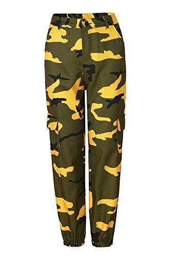 Fashion Autunno 2018 JOTHIN Casual Pantalone Skinny larghi Pantaloni Calzoni straight Donna Sportive Pants mimetici Giallo Invernali SnpAqF