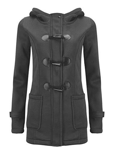 Nlife Women Classic Horns Buttons Coat Solid Color Zip Up Front Pockets Hooded Duffel Coat