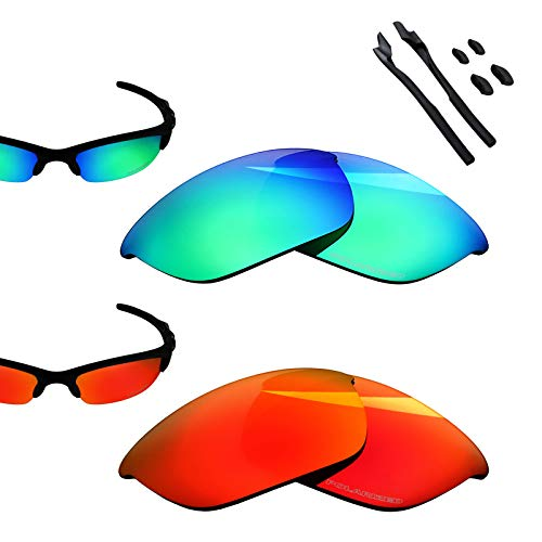 - BlazerBuck Anti-salt Polarized Replacement Lenses for Oakley Half Jacket 2.0 - Fire Red & Emerald Green