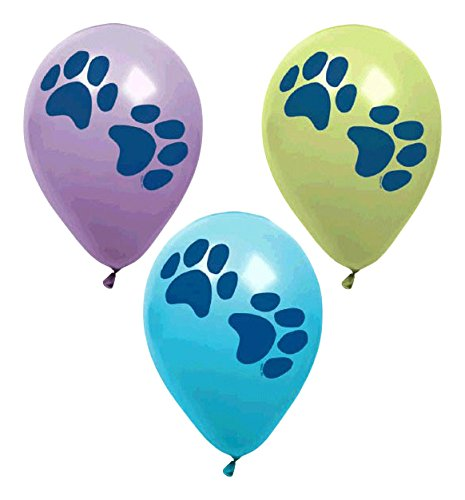 Adorable Party Pups Paw Printed Latex Balloons Decoration, Pack of 6