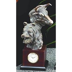 Bull and Bear Head Statue Clock
