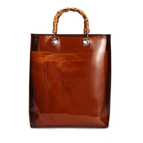 Women Vintage Bamboo Handbag Large Waterproof PVC Tote Bag For Beach Travel,2 In 1 (Brown)