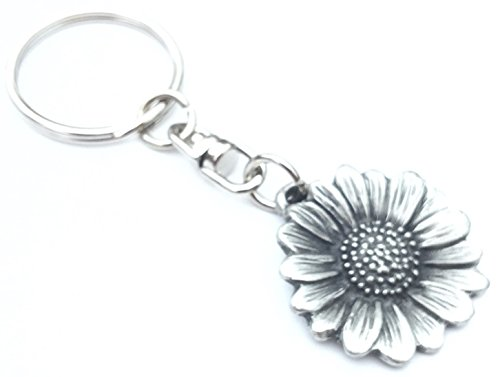 Solid Pewter Sunflower Keychain with Gift ()