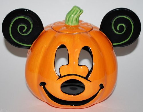 Disney Parks Mickey Mouse Halloween Jack O' Lantern Pumpkin Votive Ceramic Candle Holder -