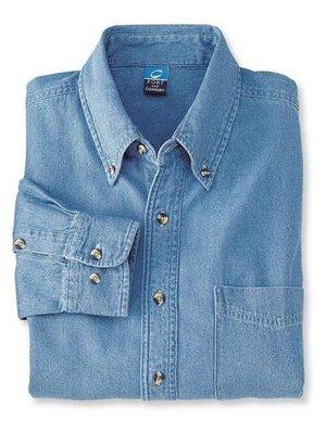 Port & Company - Long Sleeve Value Denim Shirt. SP10 Faded Blue 6XL