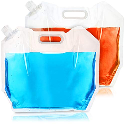 Juvale Water Storage Containers – 2-Pack 5 Liter Collapsible Foldable Plastic Portable Water Tank Carriers for Camping