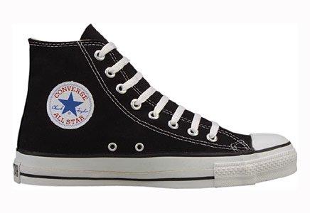Chuck Taylor All Star Canvas High Top, Black/White, Mens 7.5 Womens 9.5