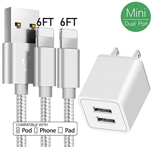 AVIOS Portable 2.4A Dual 2-Port USB Wall Charger w/ 2-Pack 6FT Nylon Braided Charger Cable USB Cord Charging Charger Compatible iPhone 8, X, 7, 7 Plus, 6, 6S, 6 Plus, 5S, 5, SE, iPad, iPod (Silver)