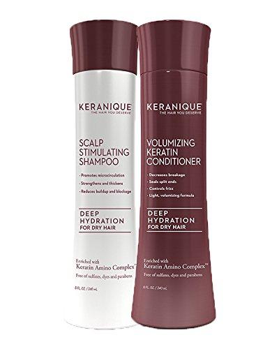 Keranique Deep Hydrating Shampoo and Conditioner Set for Hai
