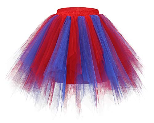 Bridesmay Women's Tutus Tulle Skirt 50s Vintage Petticoat Ballet Bubble Skirts Royal Red XL ()