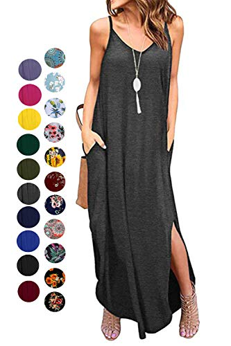 - Kyerivs Women's Summer Casual Loose Dress Beach Cover Up Long Cami Maxi Dresses (Dark Gray, L (14-16))