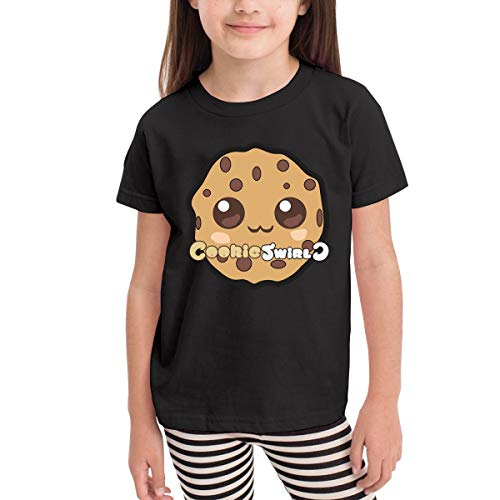 MONIKAL Children Girls Boys T-Shirt Cookie Swirl 100% Cotton Short Sleeves 2-6 Years Tri-Colour Optional 3T Black