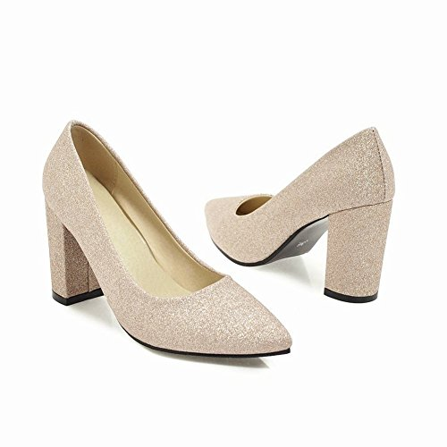 Mee Shoes Women's Simple Slip On Block Heel Shining Court Shoes Gold RwX9aqh3FK