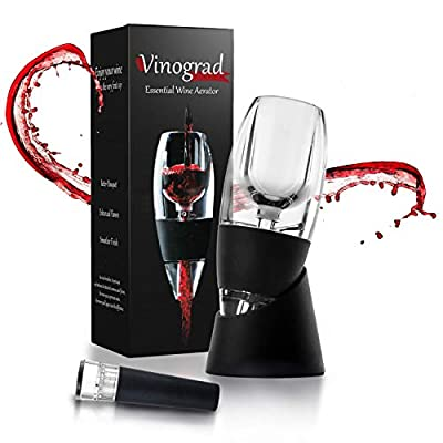 Best Red Wine Aerator Decanter Set with DOUBLE BONUS Wine Accessories - Wine Pourer Drip Stopper and Wine Vacuum Stopper - Wine Gift Box Set for Wine Lovers, Women, Men by Vinograd