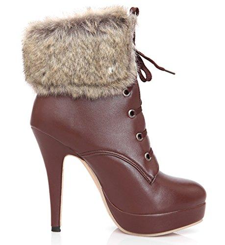 YE Women's High Heel Platform Stiletto Lace up Round Toe Ankle Boots with Faux Fur Fashion Warm Elegant Autumn Winter Shoes Darkbrown KAk13J8O