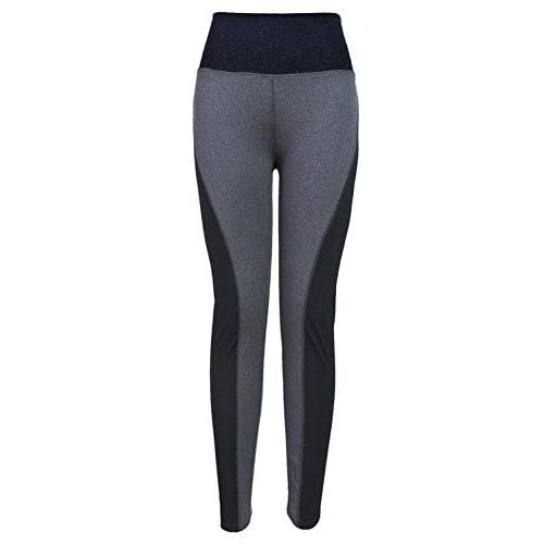 Jojobaby Womens Double-side Black Gray Yoga Stretch Leggings Sports Pants