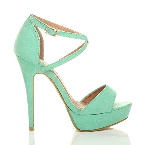 High Heel Pastel Size Cross Suede Mint Ajvani Over Sandals Women E5qEHwO