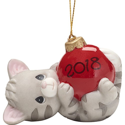 """Precious Moments"""" May Your Holidays Be Purr-FECT Dated 2018 Cat Ornament, Multicolor"""