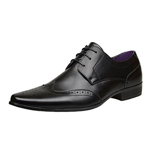Mens New Casual Brown Leather Smart Formal Lace Up Shoes UK SIZE 6 7 8 9 10 11 (UK 8 / EU 42, Black)