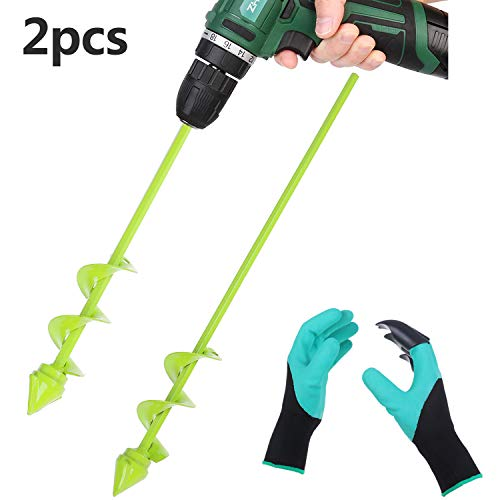 2 Pcs Backyard Plant Flower Bulb Auger with 1 Backyard Genie Gloves, Seedlings&Bedding Plant Auger for 3/8″ Hex Drive Drill , 2 Dimension