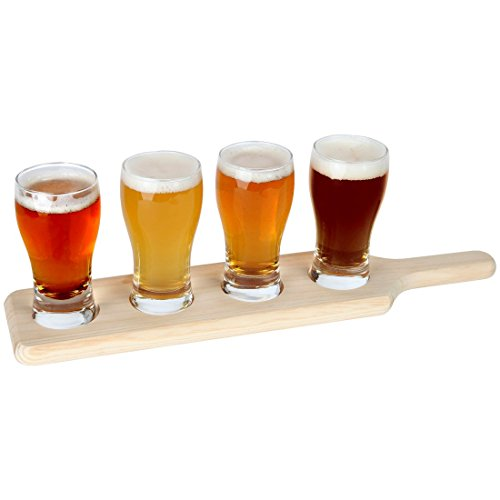 Lily's Home Beer Flight Paddle and Sample Tasting Set, Includes 4 Pilsner Glasses with 1 Attractive Wooden Tray, Best for Beer Lovers, Home Brewers, Professional Bars and Breweries, Set of 4 (Glass Tasting Shot Flight)