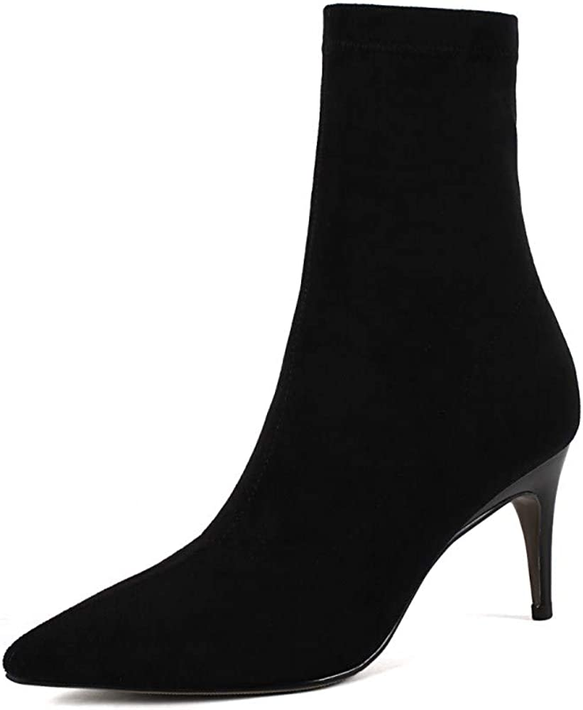 Nine Seven Womens Suede Leather Pointed Toe Mid Stiletto Heel Side Zip Handmade Comfort Dress Mid Calf Boots