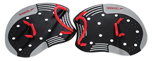 Speedo I.M. Tech Training Swim Paddles, Black/Red, Medium/Large