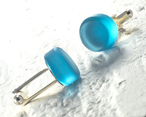Blue Gin Bottle Cufflinks Made from Recycled Bombay Sapphire Bottle