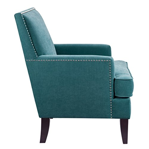 (Madison Park Colton Accent Chairs - Hardwood, Birch, Faux Velvet Living Room Chairs - Blue, Teal, Modern Classic Style Living Room Sofa Furniture - 1 Piece Track Arm Club Chair Bedroom Chairs Seats)