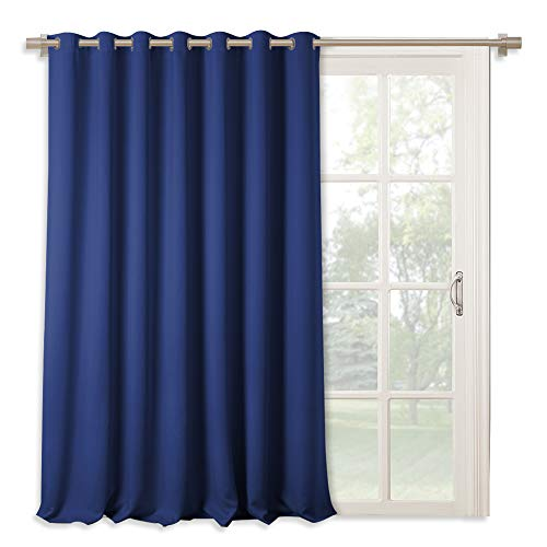 RYB HOME Wide Slider Curtain - Vertical Blind for Sliding Door, Indoor Outdoor Patio Door Shades Grommet Blackout Room Divider for Wall Panel/Living Room, 100 x 95 Inch, Navy Blue (Blinds Folding Patio Doors For)