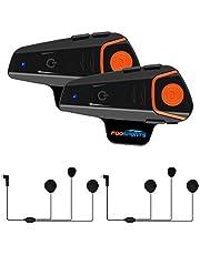 Motorfiets Intercom Bluetooth Headset, Fodsports BT-S2 Motorhelm Intercom Communicatiesystemen voor paardrijden, skiën (FM-radio/Handsfree/Range-800M / 2-3 berijders koppelen)
