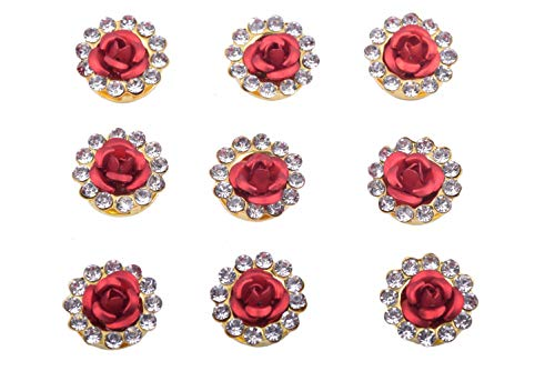 KAOYOO 50Pcs Crystal Rhinestone with Rose Buttons Gold Plated Sew on Buttons DIY Craft for Clothing,Shoes