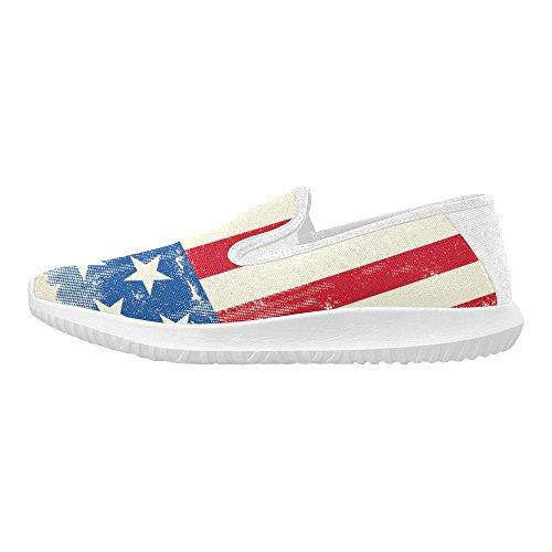 D-etasjers Sko Mote Slip-on Kvinners Lerret Joggesko Amerikanske Flagg