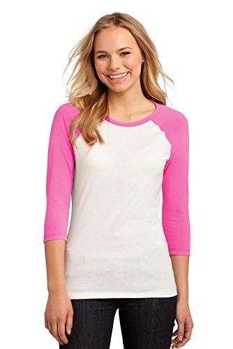District Women's 50/50 3/4 Sleeve Raglan Tee M True Pink/ White