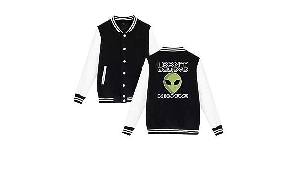 I Dont Believe in Humans Alien Mens Womens Baseball Uniform Jacket Sweater Hoodie