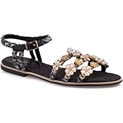Baldi Women's Littlehampton Black Ankle High Flat Open Toe Sandals With Buckle Strap (EU 38 / US 7.5, Black)