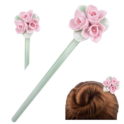 FINGER LOVE Chinese Traditional Style Handmade Ceramic Flowers Hair Pins Stick Women's Hair Accessory Gift Box Set (H) ()