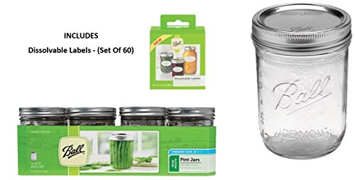 Wide-Mouth Can or Freeze with Lids and Bands, Set of 12, Dissolvable Labels - (Set Of 60) ()