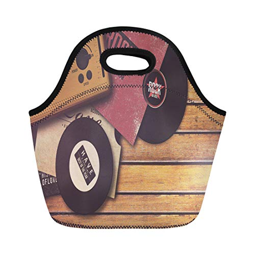 Semtomn Lunch Tote Bag Party Player and Vinyl Record on Wooden Retro Rock Reusable Neoprene Insulated Thermal Outdoor Picnic Lunchbox for Men Women (Record Player 1960)