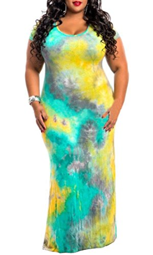 Plus Women's Dyed Sleeve Maxi Domple Round Long Yellow Size Neck Short Dress Tie Party BWX8w