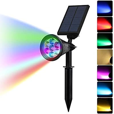 Solar Powered Spotlight Outdoor 7 Color Changing, 7 LED Adjustable Outdoor Waterproof Landscape Solar Lights In-Ground / Wall Light Auto On / Off for Patio Deck Yard Garden Driveway Pool Area, Black