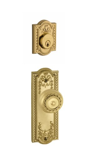 Grandeur Parthenon Plate with Parthenon Knob and Matching Deadbolt Complete Single Cylinder Combo Pack Set, Lifetime - Parthenon Single Brass