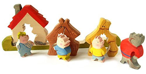 3D Jigsaw Puzzle - The Three Little Pigs fairy tale - Waldorf Toy from Russia - Handmade Stackable Wooden Ornament - montessori toys -10 pc (Fairy Tale Couples)